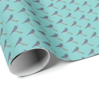 刺繍されたアオカケスの包装紙 ラッピングペーパー