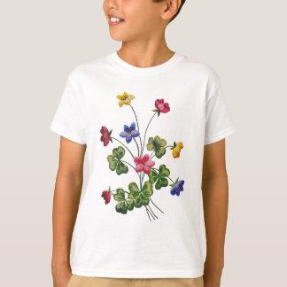 刺繍されたカラフルな木製スイバ Tシャツ