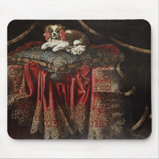 刺繍されたクッションでつくスパニエル犬 マウスパッド