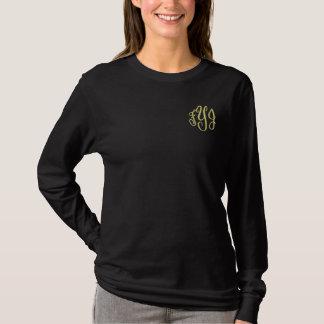 刺繍されたモノグラムのイニシャルの長袖のティー 刺繍入り長袖Tシャツ