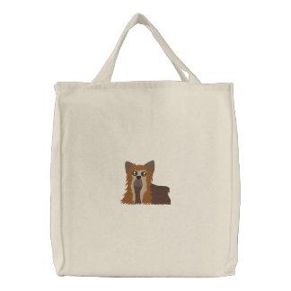 刺繍されたヨークシャーテリアのバッグ 刺繍入りトートバッグ