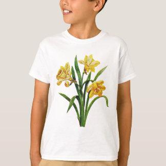 刺繍されたラッパスイセンの金多く Tシャツ