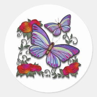 刺繍された蝶 ラウンドシール