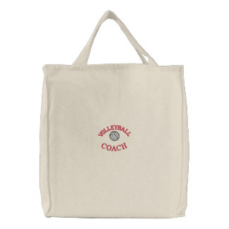 刺繍されるバレーボールのトートバック 刺繍入りトートバッグ