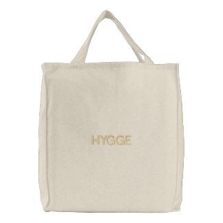 刺繍されるHyggeのデンマークのタイポグラフィのオーガニックな綿 刺繍入りトートバッグ