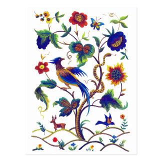刺繍BeautfulのJacobean極楽鳥 ポストカード
