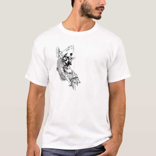 刺青TattoTシャツー鯉の滝登り和彫りタトゥー Tシャツ