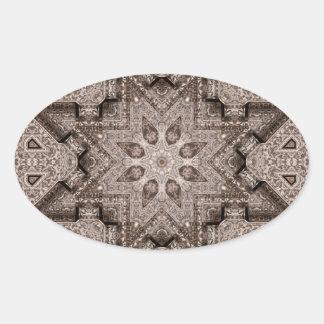 刻まれたアラベスク 楕円形シール