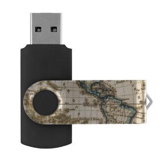 刻まれた西半球の地図 USBフラッシュドライブ