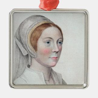 刻まれるキャサリン・ハワード(1520-42年)のポートレート メタルオーナメント