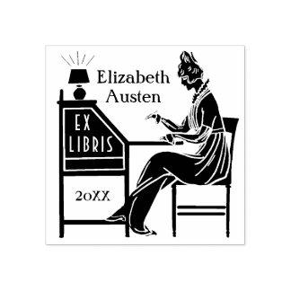 前のLibrisの蔵書票のDecoの女性ライティングデスクのカスタム ラバースタンプ