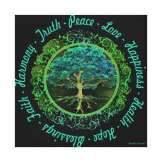 前向きな単語のの生命の樹 キャンバスプリント