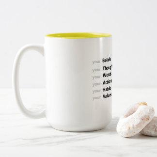 前向きな断言のマグの確信、行為、運命 ツートーンマグカップ