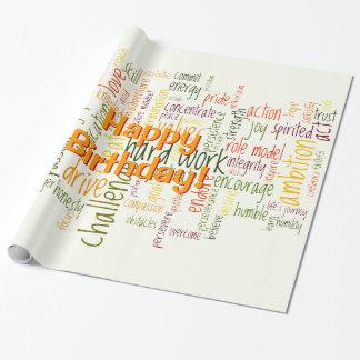 前向き、誕生日のための単語#2を意欲を起こさせます ラッピングペーパー
