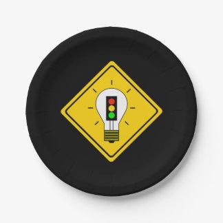 前方の信号の電球 ペーパープレート