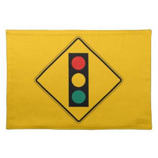 前方の信号、交通警告標識、米国 ランチョンマット