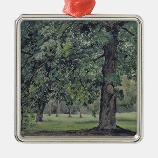 前景のクリの木との景色 メタルオーナメント