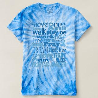 前立腺癌の認識度の青い絞り染めのTシャツ Tシャツ