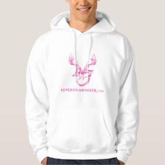 前部のピンクの迷彩柄のロゴのフード付きスウェットシャツ パーカ
