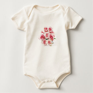前部または背部のピンクのバラが付いているベビーのOnezeのTシャツ ベビーボディスーツ