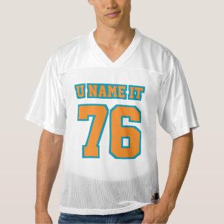 前部オレンジティール(緑がかった色)白いメンズフットボールジャージー メンズフットボールジャージー