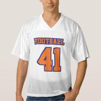 前部オレンジ濃紺白いメンズフットボールジャージー