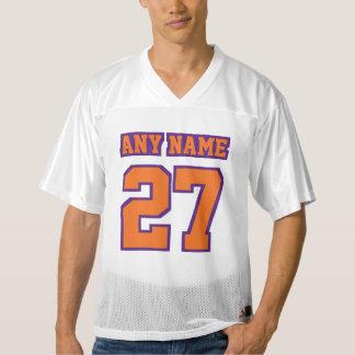 前部オレンジ紫色の白いメンズフットボールジャージー メンズフットボールジャージー
