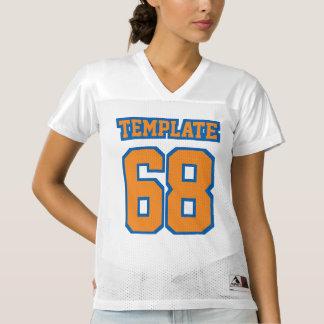 前部オレンジ青く白いレディースフットボールジャージー レディースフットボールジャージー