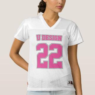 前部ピンクの銀製の灰色の白人女性のフットボールジャージー