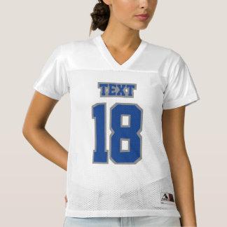 前部ブルーグレーの白人女性のフットボールジャージー レディースフットボールジャージー