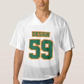 前部深緑色のオレンジ白いメンズフットボールジャージー メンズフットボールジャージー