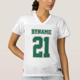 前部深緑色の銀製の白いレディースはジャージーを遊ばします レディースフットボールジャージー
