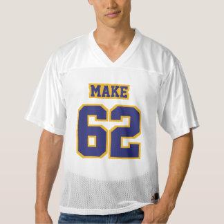 前部濃紺の金ゴールド白いメンズフットボールジャージー メンズフットボールジャージー
