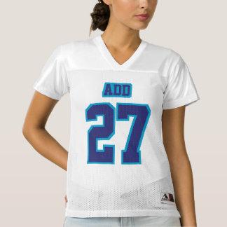 前部濃紺白いレディースフットボールジャージー レディースフットボールジャージー