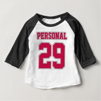 前部白く黒い深紅色の銀3/4の袖のRaglan ベビーTシャツ