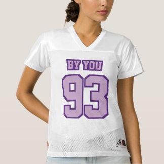 前部薄紫の白いレディースフットボールジャージー