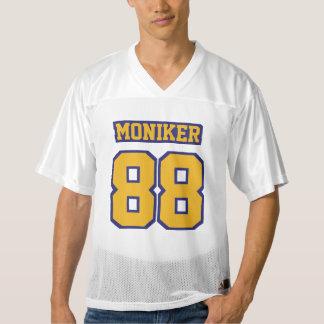 前部金ゴールドの濃紺白いメンズフットボールジャージー メンズフットボールジャージー