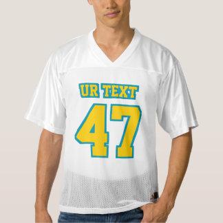 前部金黄色いティール(緑がかった色)白いメンズスポーツジャージー メンズフットボールジャージー