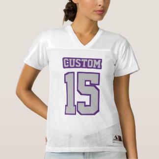 前部銀製灰色紫色の白いレディーススポーツジャージー
