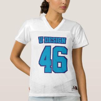前部青く白いレディースフットボールジャージー レディースフットボールジャージー