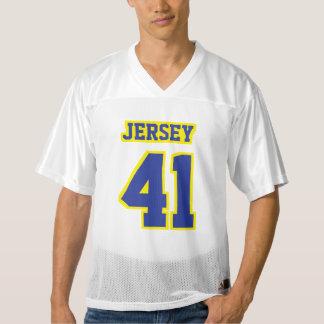 前部青く黄色く白いメンズフットボールジャージー メンズフットボールジャージー