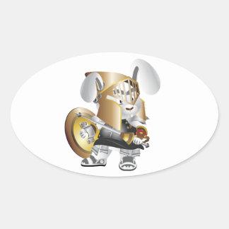 剣闘士のバニー 楕円形シール