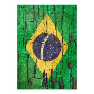 割れたブラジルの旗の皮のペンキの効果 カード