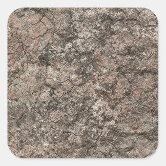 割れた乾燥した砂漠の1階の質の背景 正方形シール