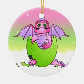 割れた卵-ピンク/紫色のかわいいドラゴンのベビー セラミックオーナメント