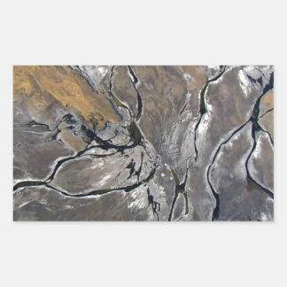 割れた塩湖の写真撮影の近代美術 長方形シール