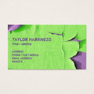 割れた緑の紫色の皮をむくカッコいいによって欠かれるペンキ 名刺