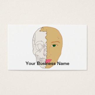 割れた顔の女性のスカルの恐怖芸術 名刺