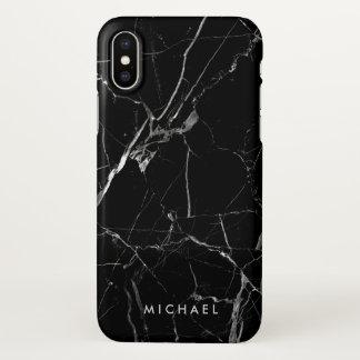 割れた黒い大理石の質の名前入りな名前 iPhone X ケース