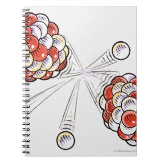 割れ目原子および中性子のイラストレーション ノートブック